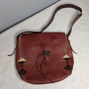 Lucky Brand Leather Embroidered Shoulder Bag